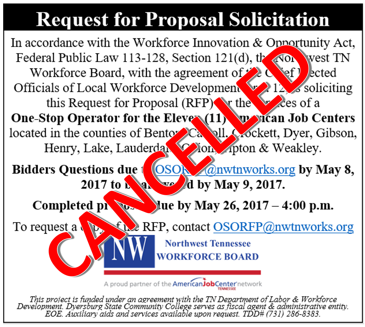 OSO Cancelled May 2017